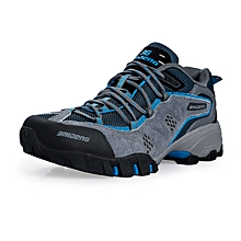 Spring Autumn Men Sports Outdoor Trekking Shoes Breathable Mesh Hiking Mountain Climbing Shoes Waterproof Anti-skid - Grey