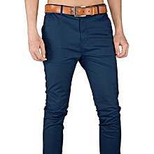 Soft Khaki Men's Trouser Stretch Slim Fit Official Casual- Navy Blue+Free pair of socks