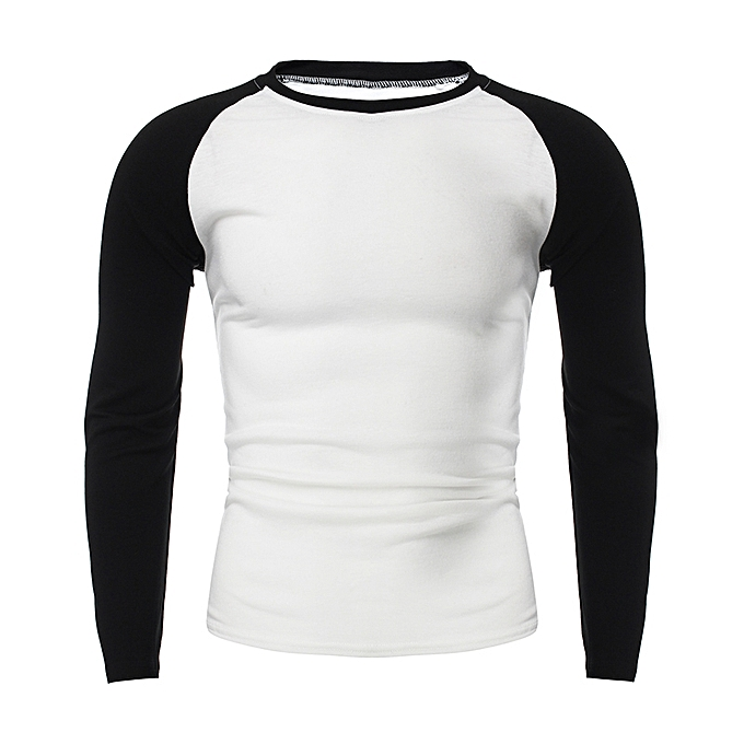 a79d8af0 INCERUN Stylish Mens Casual Simple Crew Neck Long-sleeved T-shirt Tee Tops  White&Black