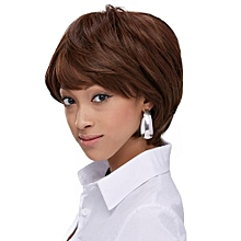 Wig ladies fashion realistic natural short female fluffy oblique bangs-dark brown