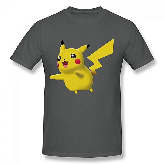 Pikachu Pokemon Battle Revolution Men's Cotton Short Sleeve Print T-shirt  Grey