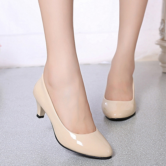 c7be81e6f3 Nude Shallow Mouth Women Office Work Heels Shoes Elegant Ladies Low Heel(CN  SIZE) …