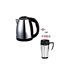 Kettle (Electric Cordless) 2 Litres + a FREE Travel Mug - Silver