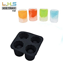 4-Cup Ice Cube Shot Shape Rubber Shooters Glass Freeze Mold Maker Tray Party-Black