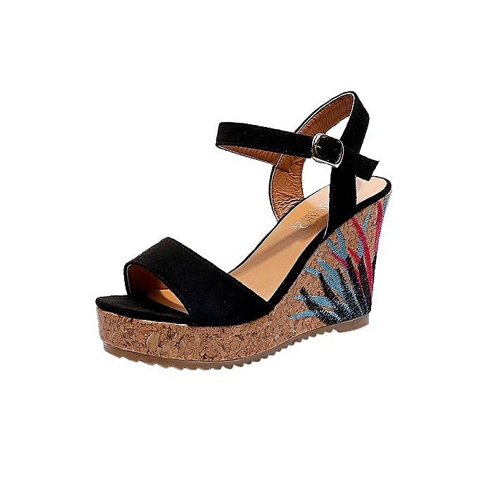 cff9ae272ced Fashion Bliccol High Heel Shoes Bohemian Women Sandals Ankle Strap Straw Platform  Wedges Shoes High Heels Sandal-Black