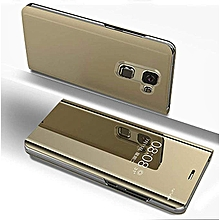 Samsung Galaxy A6 Plus(A6+ 2018) Leather Case, Pu Leather Flip Case Cover For Samsung Galaxy A6 Plus(A6+ 2018) With Stand Function And Plating Mirror - Gold.