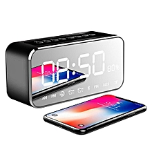 Bedside Alarm Clock With Bluetooth Speaker, Wireless Stereo Sound Speaker Built-in Micro SD Card, LED Nightstand Clock And Large Mirror LED Dimmable Display By BDZ