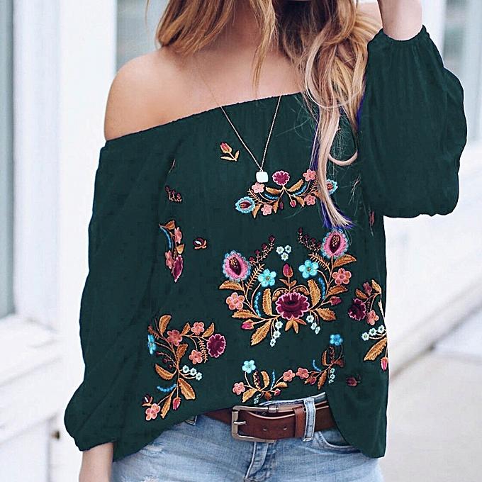 ec7723a6aa27 huskspo Women's Plus Size Long Sleeve Off Shoulder Print Pullover Tops Shirt