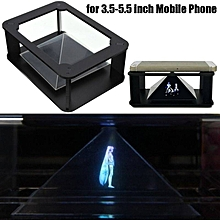 DIY 3D Holographic Projection Pyramid for 3.5 - 5.5 inch Mobile Phone - Black