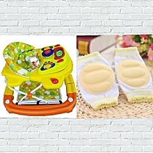 2 in 1 Baby Walker & Rocker Combo with Matching Cren Infant Toddler Baby Knee Pad Crawling Safety Protector