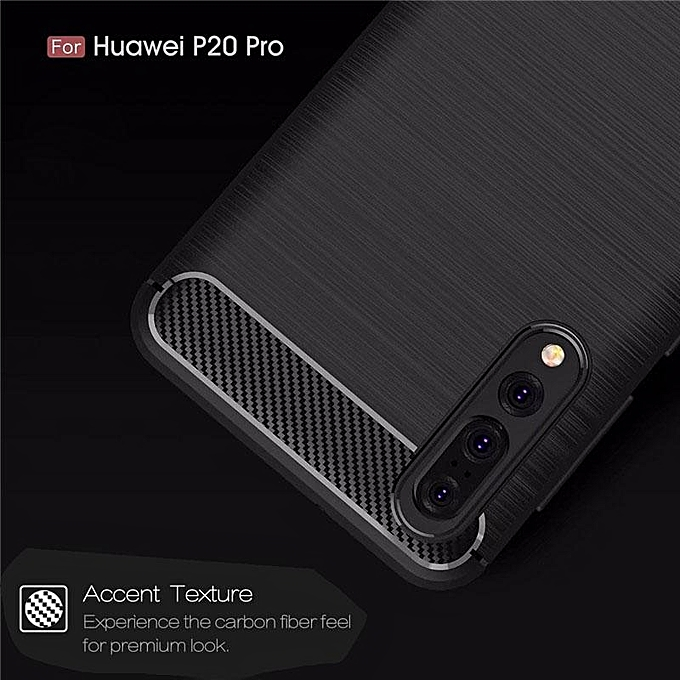 new product 361ac 6eaf5 For Huawei P20 Pro Soft Carbon Fiber Rugged Armor Protective Case Phone  Cover (Black)