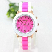 Watch Rubber Candy Jelly Fashion Unisex Silicone Quartz(Rose)