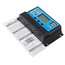 10/20/30A 12/24V LCD PMW Solar Charge Controller Battery Regulator 2 USB Backlit
