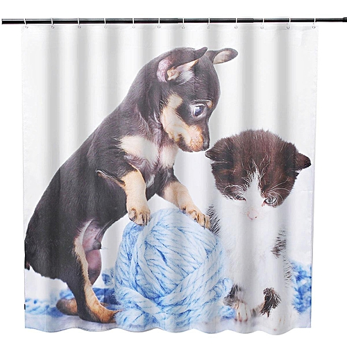 Generic 180180cm Cat Dog Bathroom Shower Curtain Waterproof 12 Free Hooks Best Price