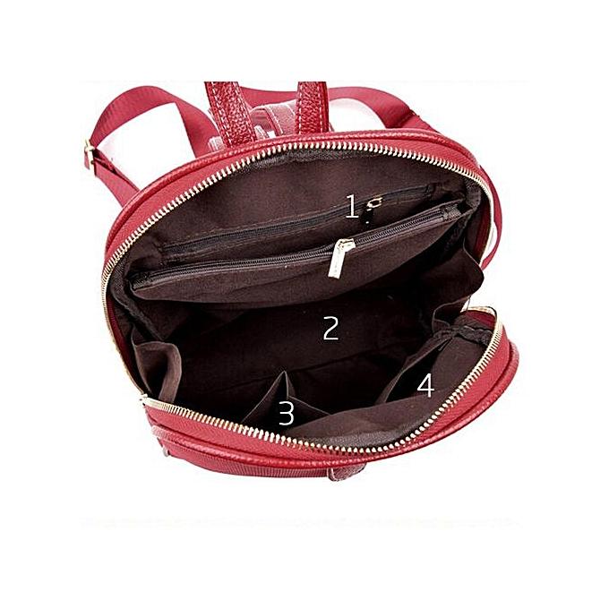 878be329c376 ... Zetenis Women Girl Rucksack Shoulder Bookbags School Bag Satchel Travel  Leather Backpack -Red ...