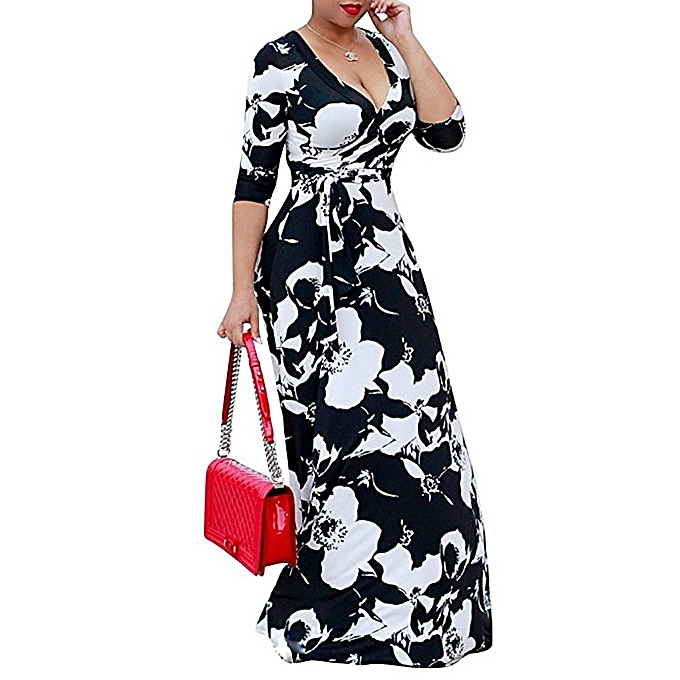 32a2f2114dc GeneAfrica Plus Size Floral Printed Party Maxi Dress Ankara Gown ...