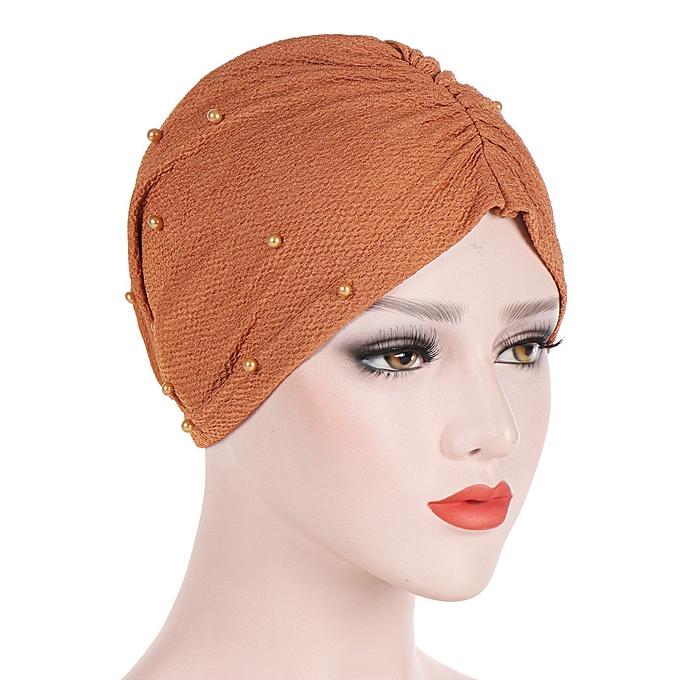 c212bf8279b8c meibaol store Women Beading India Hat Muslim Ruffle Cancer Chemo Beanie  Scarf Turban Wrap Cap