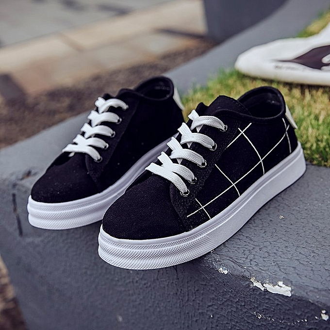 a7cd889cff74 Women Canvas Shoes Vulcanize Female Sneakers Lace Up Black