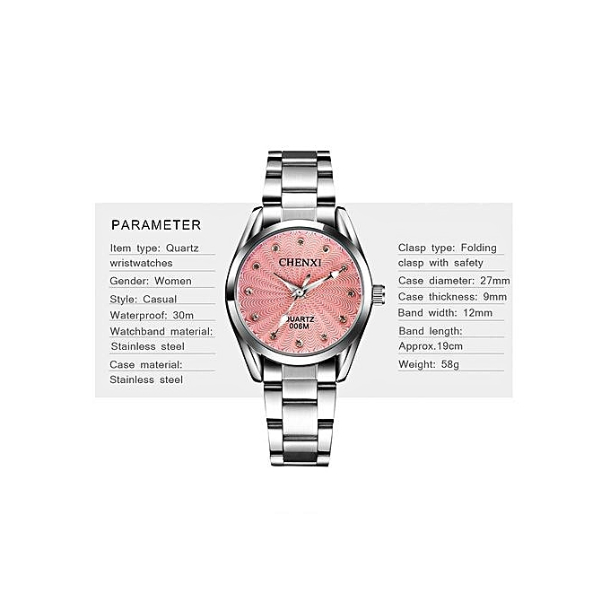 958542cb66e Waterproof Casual Women s Watch Stainless Steel Watchband Quartz  Wristwatches With Diamonds Decoration-Silver Pink .