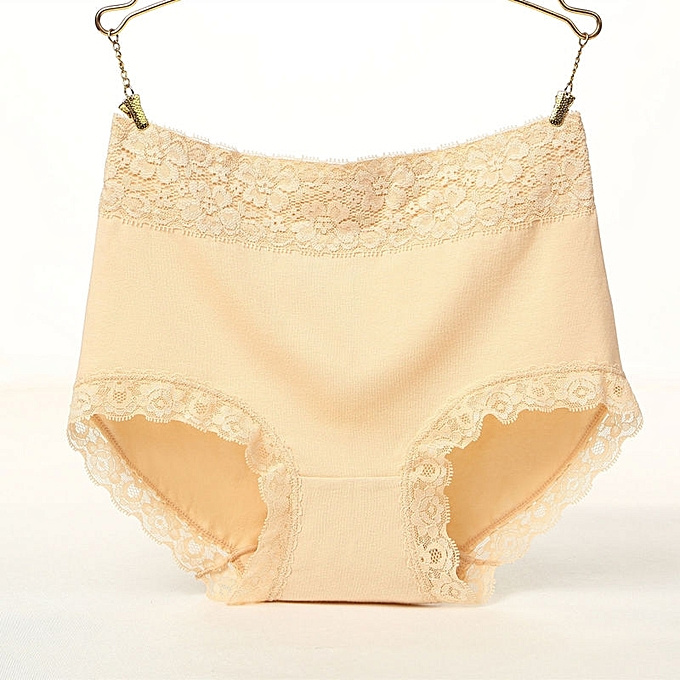 9267d3fa4831 New lace side high waist underwear women comfortable cotton large size  briefs-yellow