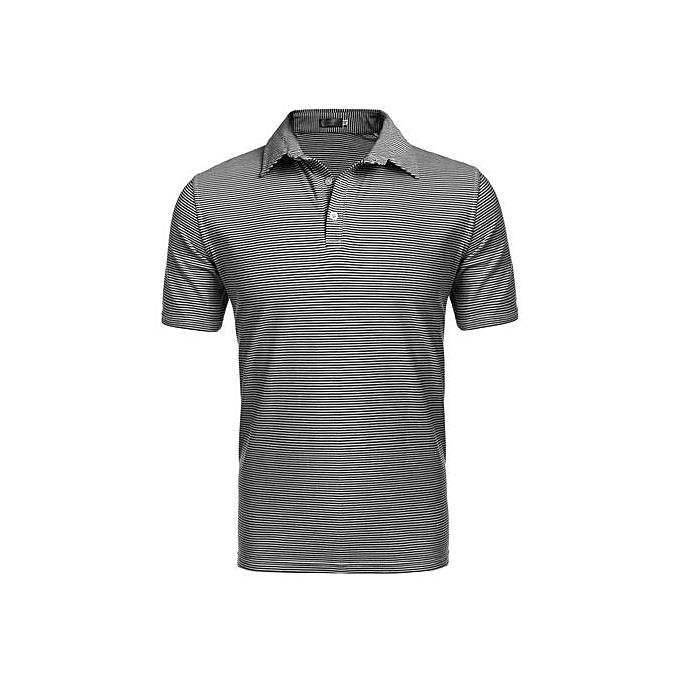 e7ba1f03f TOPRANK Men Casual Short Sleeve Stand Collar Striped Polo Shirt ...