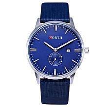 Olivaren NORTH Stainless Steel Calendar Leather Men's Business Quartz Wrist Watch BlueBlue
