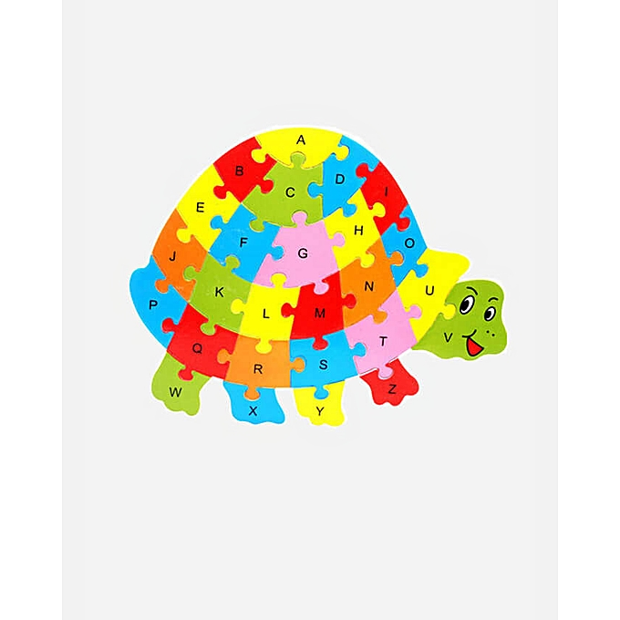 Block Puzzle Wood Word Alphabet Games Mat for Kids – Tortoise