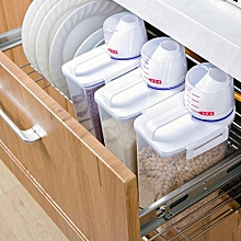 2L Plastic Cereal Dispenser Storage Box Kitchen Food Grain Rice Container Nice -clear