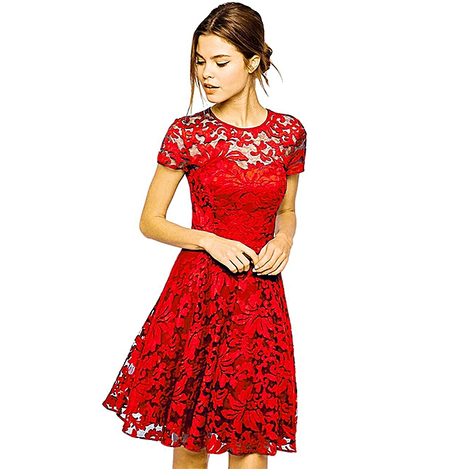 538d2ad54a Generic New Sexy Women Floral Lace Dress Round Neck Short Sleeve Pleated  Swing Cocktail Party Dress Blue Black Red