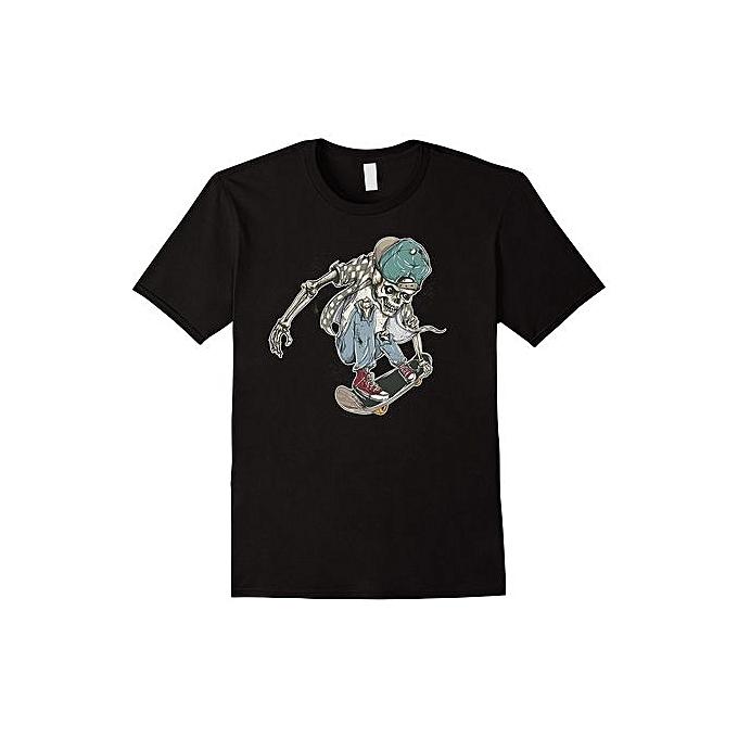 7a46cbf708d2 Skeleton Skater Skull Skateboard T-Shirt Tee Shirt Men Short Sleeve T- Shirt