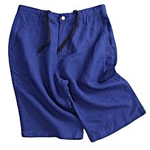 Men's Breathable Linen Cotton Shorts Summer Knee-Length Solid Color Casual Pants