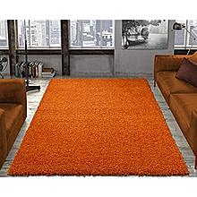 Fluffy Rug Anti-Skid Shaggy Area Rug Dining Room Carpet -Floor Mats -Orange-5*8