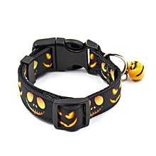 New Halloween pet collars dog collar pet collar bell collar dog festival Large-black
