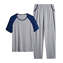 Mens Summer O Neck Modal Thin Loose Home Casual Sleepwear Set