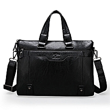 Leather Bag, for MenLaptop Bag,Work Business Travel Computer Bag with Multi Pockets for Notebook/MacBook/Tablet-Black