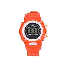 Boys Girls Student Time Sport Electronic Digital LCD Wrist Watch-Orange