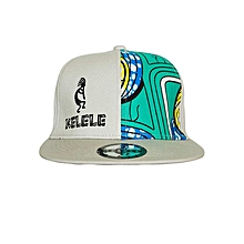 Light Grey And Cyan Snapback Hat With Kelele Color On Panel