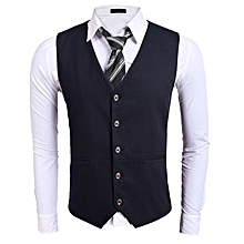 Men Single-Breasted Button Down Solid Slim Fit Casual Vest-Navy Blue