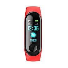 Smart Bracelet Measuring Heart Rate Pedometer Waterproof Sports Bracelet red