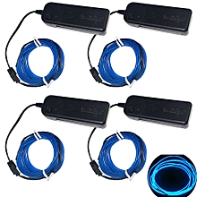 3W 5V 3M Flexible Red / Green / Blue Neon EL Wire Light Dance Party Decor Light Batteries not Included 4pcs - Blue