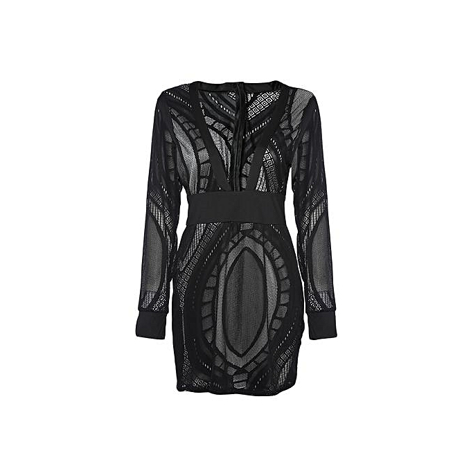 6cef97e5fc4 Sexy Plunge Neck Long Sleeve Lace Women Bodycon Dress - BLACK