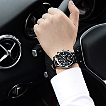 Tectores Fashion Trend Men Luxury Stainless Steel Quartz Military Sport Leather Band Dial Wrist Watch  Gift