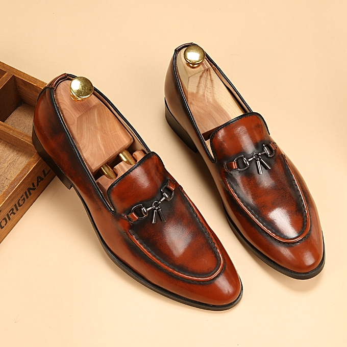 Retro Slip On Formal Shoes Men Genuine Leather Moccasin Casual Shoes (Brown) e0234d74c0aa