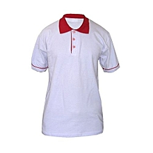 Polo T-Shirt - White & Red
