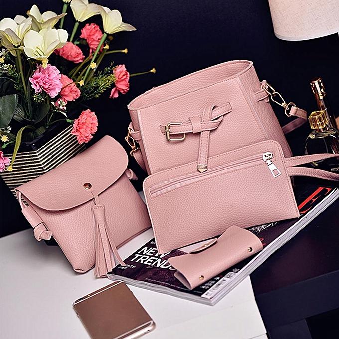 7c68d57345 ... guoaivo Women Four Set Fashion Handbag Shoulder Bag Four Pieces Tote  Bag Crossbody Wallt