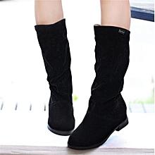58596b1b66e2a Womens Winter Warm Snow Boots Suede Mid-calf Boots Platform Fashion Flat  Shoes Black