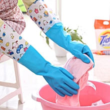 1 Pair Fluff Lining Life Waterproof Elastic Closing Warm Dishwashing Cleaning Rubber Gloves, Size: L