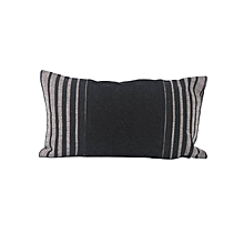 Black Decorative Pillow with Stripes - Small