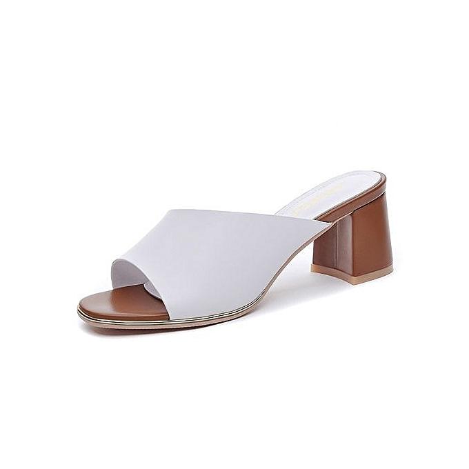 ce217d4fd Summer Casual Slippers Women Shoes Soft Leather 6.5 CM Medium Heels Women  Slides 6254 White
