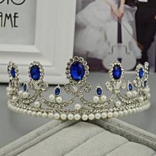 Vintage Blue Rhinestone Bridal Tiaras Wedding Headbands Baroque Crown Queen Princess Headdress Pearl Hair Jewelry Accessories